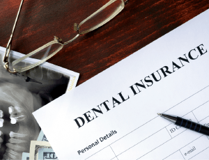 Dental insurance forms, x-rays, and money